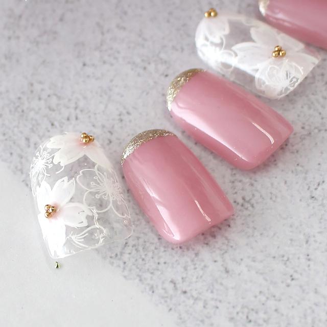 春先取り桜ネイル!お花見に行きたくなるデザインです。