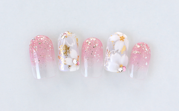 桜の3Dとアートで華やかな春ネイル