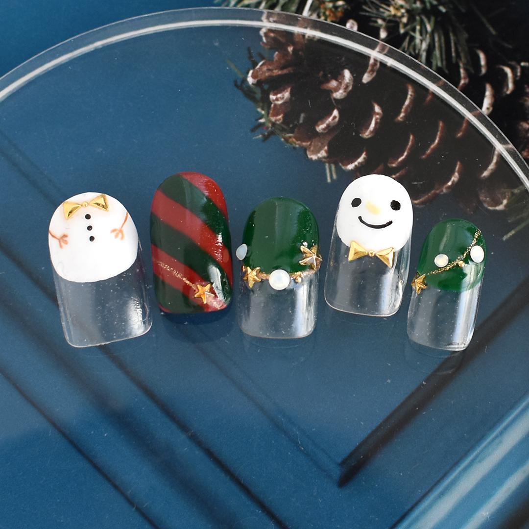 クリスマスカラーに雪だるまを入れてかわいくしました。
